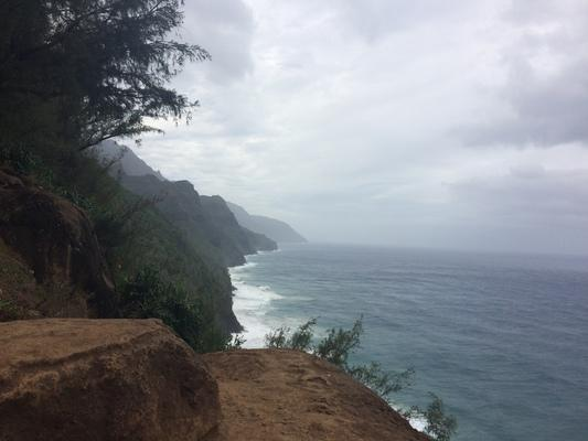Kalalau Trail with rich colors of red soil , green trees and blue ocean and skies... a great hike.  The trail is 11 miles to Kalalau Valley with great nature and camping... it's a great place for adventures... especially with someone you love ❤