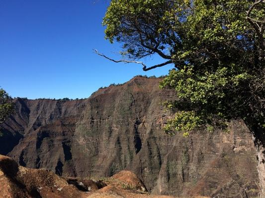"The view by Waipoò Waterfall in Waimea Canyon on Western Kauai. Mark Twain called Waimea Canyon ""The Grand Canyon of the Pacific"".  The geography and geology are impressive. Great hiking and views..."
