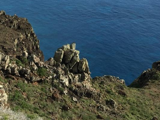 Rock formations on the cliffs with the beautiful blue Pacific Ocean 400 meters below... calm... peaceful... renewing...